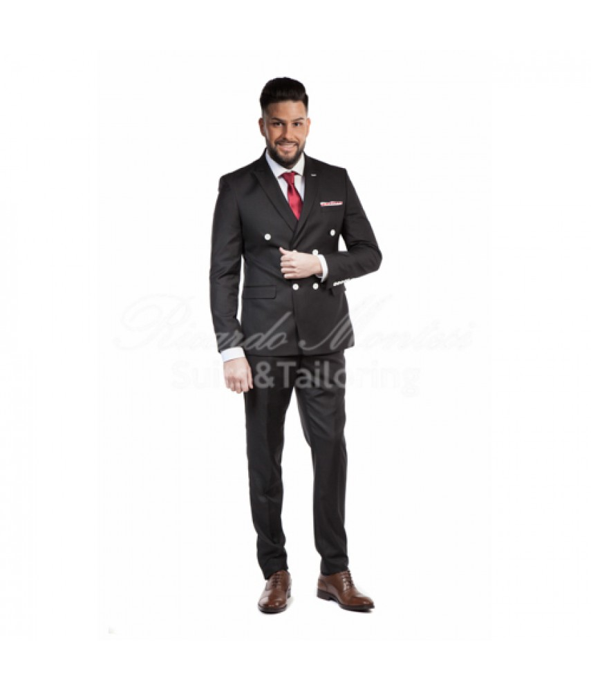 Costum negru doua randuri de nasturi, butoni albi