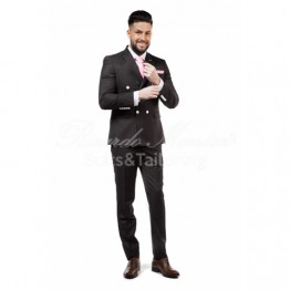Costum doua randuri de nasturi, negru cu insertii albe