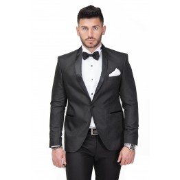 Costum negru ceremonie din brocart New