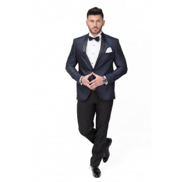 Costum ceremonie blue navy din brocart New