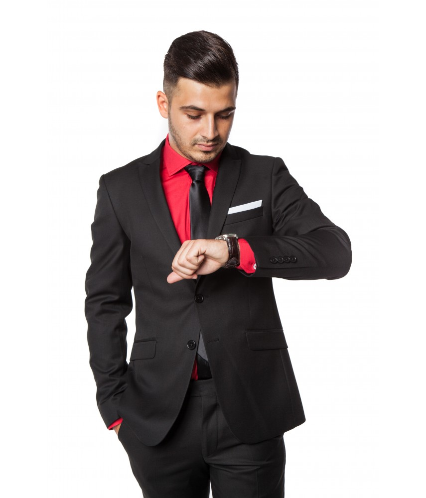 Costum slim-fit Alonzo, Negru