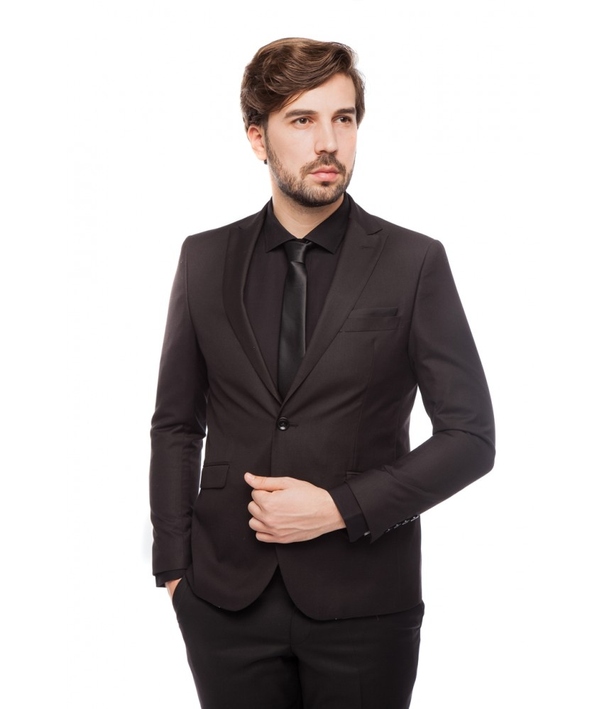 Costum slim fit negru NORBERT