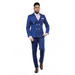 Costum bleumarin doua slituri laterale business slim fit