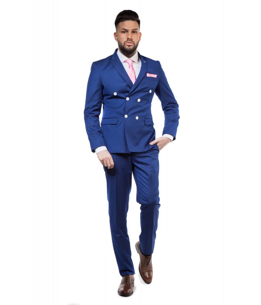 Costum bleumarin doua slituri laterale business slim fit